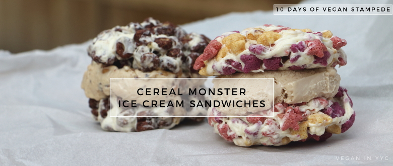 Cereal Monster Ice Cream Sandwiches (10 Days of Vegan Stampede)
